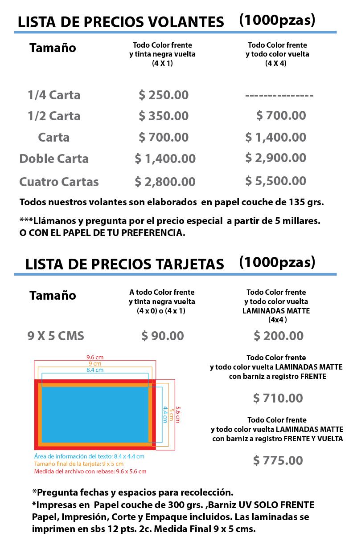 PRECIOS VOLANTES Y TARJETAS CLICK PUBLICIDAD